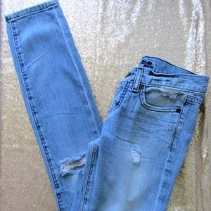 Distressed Bebe skinny and distressed jean size 25